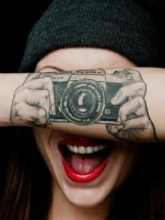 That's a pretty rad tattoo. I love this! I want a camera tattoo myself  JUST  following ME/THIS BOARD AND I WILL INVITED YOU TO THIS TATTOO SHARE BOARD.EVERYONE IS WELCOME~~~