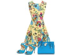 Lovely yellow dress with matching shoes and bag.