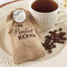 Edible Wedding Favors: coffee or beverage in burlap bag