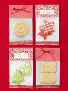 Cute idea for packaging holiday treats. Click for details + more food gift ideas! holiday treats, treat bags, gift ideas, homemade food gifts, paper, homemade foods, craft stores, card, holiday gifts