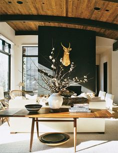 Ok, the ceiling would sell the entire house to me (my future husband is going to get SO sick of house looking with me!) The black pops in the room unify the wood and urban furniture. The black matte wall makes a focal point in the room that is impossible to miss. The furniture and the accessories are perfect. I could do without the deer head, but maybe that'll be my compromise with the future hubby ;)