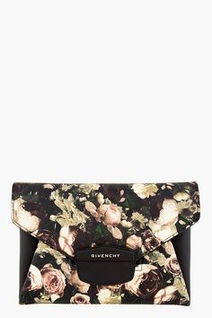 Givenchy Black And Beige Rose Print Antigona Envelope Clutch