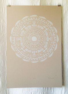 White Circle Pattern Screen Print on Etsy, $35.00