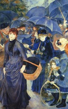 Blue Umbrellas... oil by Pierre-Auguste Renoir