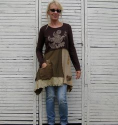 Earth Colors Tunic S/M Upcycled Clothing Upcycled by AnikaDesigns, $68.00