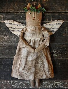 Primitive Folk Art Christmas Miss Holly Angel by rockriverstitches, $9.00 - Designed by Tammy Franck