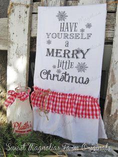 Christmas Flour Sack Kitchen Towel by SweetMagnoliasFarm on Etsy