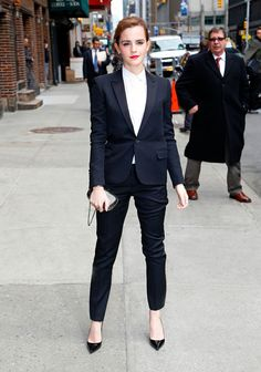 Emma Watson in full Saint Laurent suit
