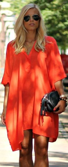 Zara Orange Flowy Summer Little Dress by Natulia
