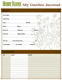 Garden Journal Pages