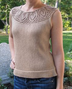 leaf yoke top. Interesting beginning to a top-down sweater.