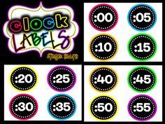 Neon clock labels