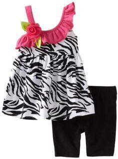 Sweet Heart Rose Baby-girls Infant Zebra Ruffle Bike Short Set