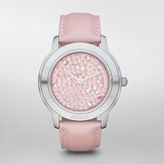 crystal dial, dkni watch, accessori, shops, dial watch, women pink, pink leather, leather strap, pink crystal