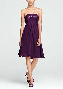 Your bridesmaids will pave your entrance as they dazzle down the aisle inthis fashion forward stunner!  Strapless sequin bodice is eye catching and right on trend.  Empire waist creates a defined and stunning silhouette.  This short sensation is perfect for any wedding, the chiffon split front isfun and flirty.  Fully lined. Back zip. Imported. Dry clean only.