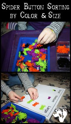 Spider Button Sorting: Color & Size - 3Dinosaurs.com