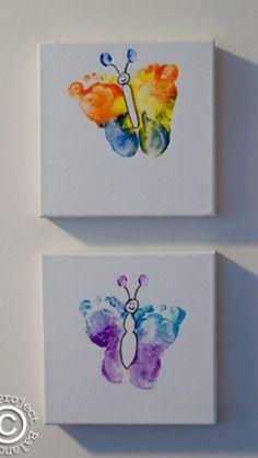 Baby foot print butterflies #Baby #Footprint #butterfly #craft