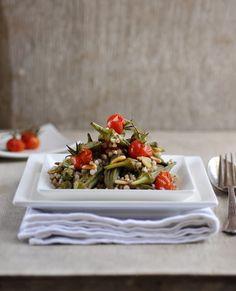 Roasted Okra and Tomato Salad