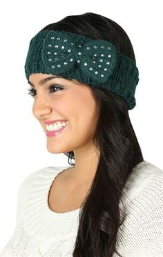 Deb Shops Knit Head Wrap with Stone Bow $9.03
