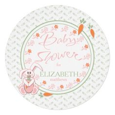 Carrots and Flowers Bunny Rabbit baby shower custom invitations. Sweet bunny rabbit with a pacifier and holding a carrot with pink flowers and orange and mint green carrots background round two-sided baby shower invitation.