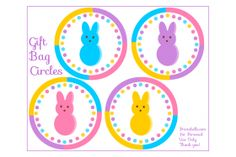 Peeps Party Set - Free Printables - Includes sign, card, lunch notes, banners, water bottle labels, mini candy bar wrappers and more.