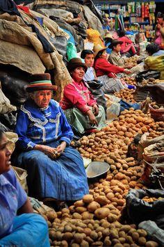 Caraz Market, Peru. white photographi, world cultures, peruvian people, peru people, potato, caraz market, homes, market food, travel foods