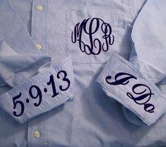 Monogrammed Oxford - Blue Bride's  Shirt - Bride's Wedding Day Shirt on Etsy, $40.00