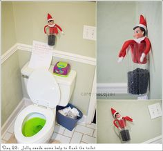 Elf on the Shelf - needs help flushing the toilet... Literally laughed out loud when I saw that one!