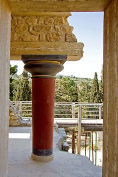 Ancient Palace Column, Knossos, Crete, Greece