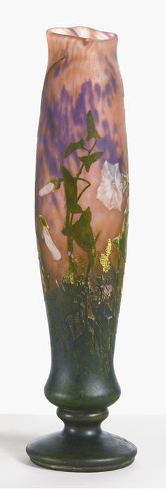 """DAUM """"MORNING GLORY"""" VASE wheel-cut DAUM/NANCY with the Croix de Lorraine internally decorated cameo glass with wheel-carved details 16 in. (41 cm) high 4 in. (10.2 cm) diameter circa 1910"""