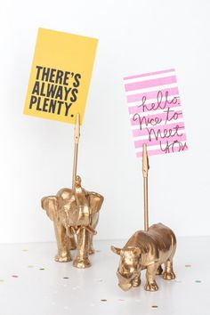 Need to make these! Love the idea of these cute spray-painted gold kid's animal toys being made into little business card or note holders for a desk. Definitely cheery! Organize! 12 Functional & Darling DIY Projects For Your Desk