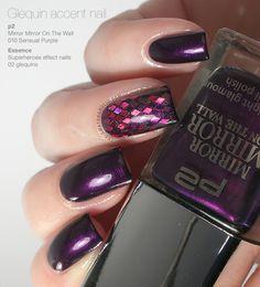 Glequin accent nail manicure with the beautiful p2 Sensual Purple #nailart #glitter #nails #glequins #nailpolish