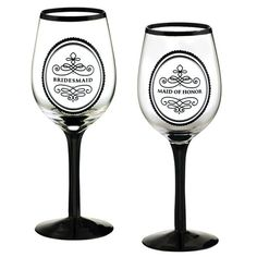 Maid of Honor and Bridesmaid's wine glasses