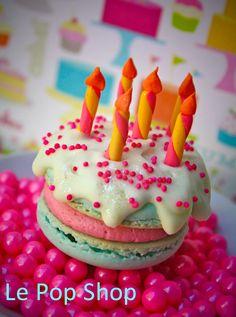Happy Birthday Macaron original design by Le Pop Shop candy by SweetWorks.net. https://www.facebook.com/LePopShop
