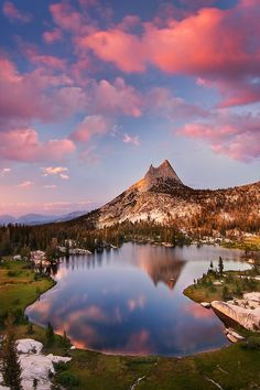 Top of Cathedral Peak in Upper Cathedral Lake in Yosemite National Park, California, USA.