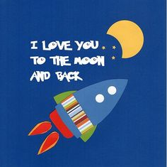 I Love You to the Moon  canvas wall art, boys rocket canvas art, nursery canvas art, outer space canvas wall art