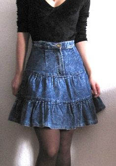 80s AcidWash Denim HighWaisted Jeans Skirt from by FisherSonya, €20.00