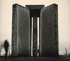 Called the Georgia Guidestones, the monument is a mystery—nobody knows exactly who commissioned it or why.    The stones are engraved with the same message in multiple languages - the message appears to be instructions to survivors of a global cataclysm.