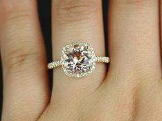 hello hello hello Barra Princess Size 14kt Yellow Gold Thin Morganite Cushion Halo Engagement Ring