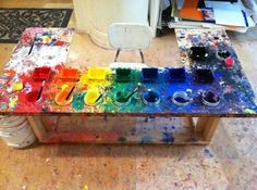 Paint-mixing table at the Portland Child Art Studio in Portland, OR portland, ateli, art studios, futur school, kid art, children, photo galleries, child art