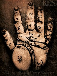 Palmistry Art by Renee Keith - Fortune Telling, Divination, Hand Chart, Symbols, Astrology, Palm Reading symbol