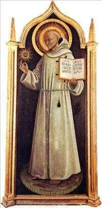"""St. Bernardine of Siena, Franciscan missionary, and is a Catholic saint. He is known in the Roman Catholic Church as """"the Apostle of Italy"""" for his efforts to revive the country's Catholic faith during the 15th century."""
