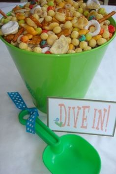 Love This!  Beach pails filled with snack mix, will have to set up bags to scoop them into pool noodles, pool parties, birthday parties, party themes, party snacks, beach party, summer beach, beach snacks, kid