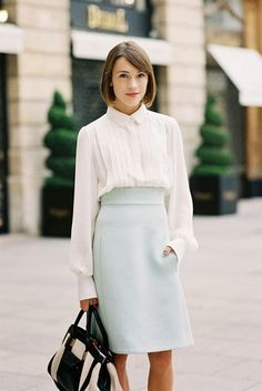 Paris Fashion Week SS 2014....Ella - Vanessa Jackman. I love this look! It is modest but at the same time super cute!  #modestfashion #tzniut #tznua #frumwear #orthodoxwear #christianmodesty