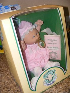 cabbage patch kid dolls 1980's | Vintage 1980's Cabbage patch Kids Preemie Doll baby in BOX Pink Outfit ...