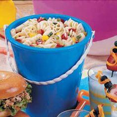 sea shell, beach parti, pasta shell salad, food, bucket, beach party, seashells birthday, seashell party, seashell pasta salad