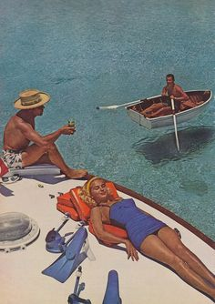 Lounging in the sun beside pristinely gorgeous tropical waters, 1950s. #vintage #suntanning #summer #vacation #1950s #swimsuit #beach #boat