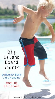 Big Island Board Shorts // Sewn by CailaMade // Pattern by Blank Slate Patterns {Tutorial for color-blocking included}