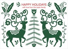 Nordic Deer Flat Holiday Cards