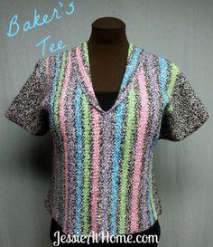 Baker's Tee ~ Free Crochet Pattern Sizes: XS (S, M, L, 1X, 2X, 3X, 4X, 5X);